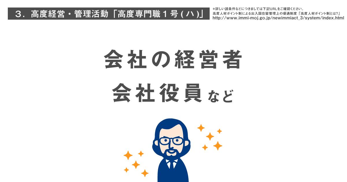 高度経営・管理活動「高度専門職1号(ハ)」