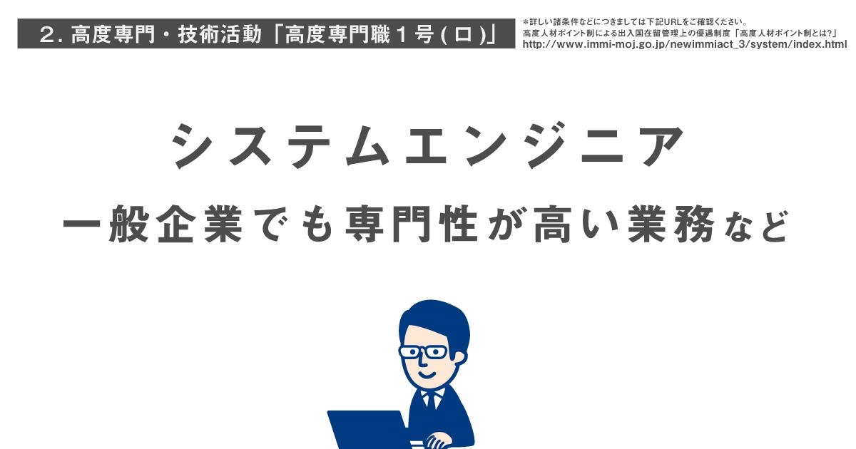 高度専門・技術活動「高度専門職1号(ロ)」