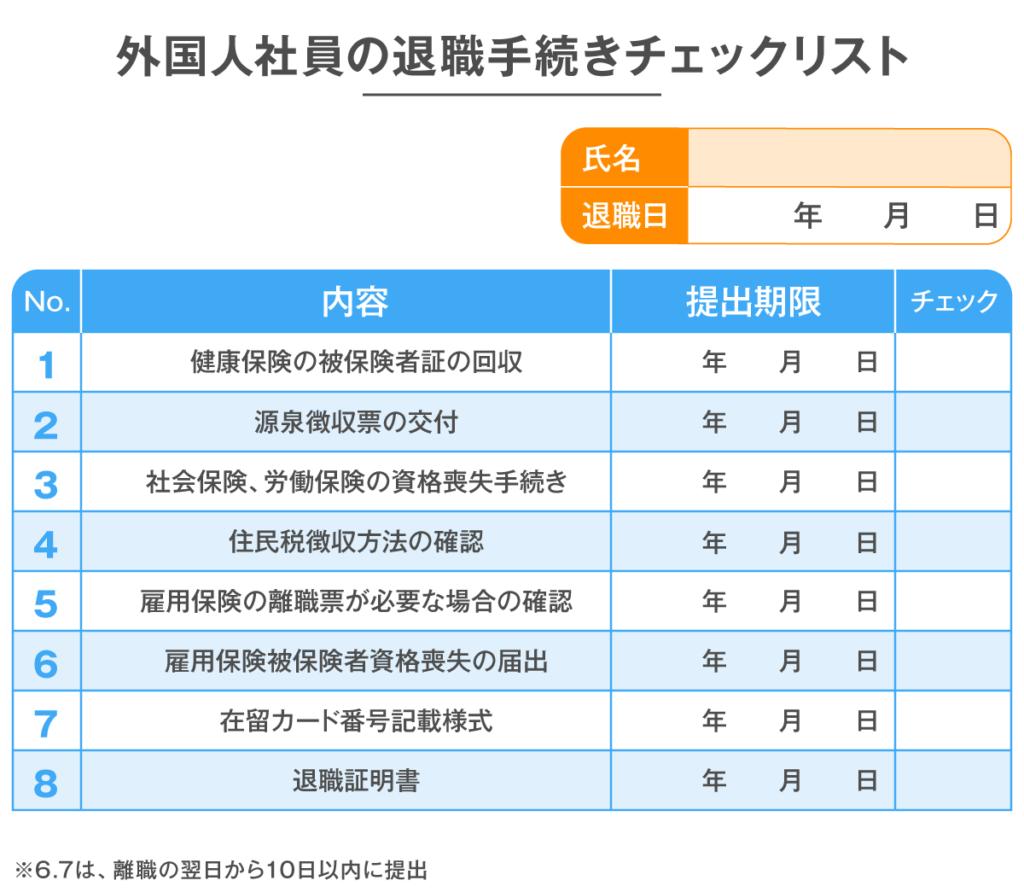 会社側で行う外国人社員の退職手続きチェックリスト